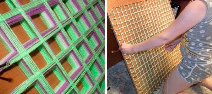 плетение пледа из помпонов