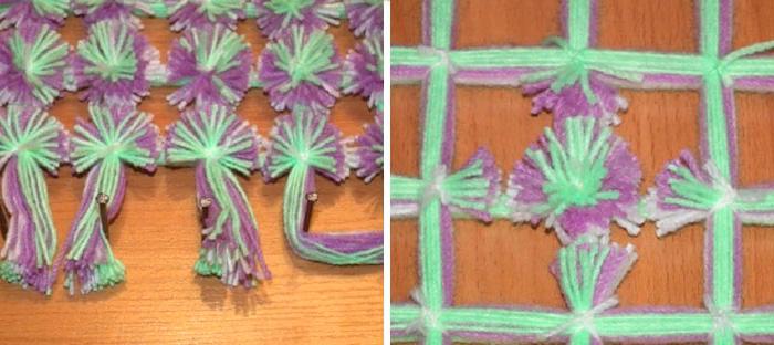 Разрезка контрастных нитей для помпонов